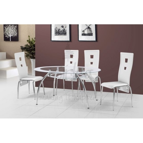 Cheap Birlea Soho Oval Glass Dining Table Set With 4 White Chairs Inside Cheap Glass Dining Tables And 4 Chairs (View 5 of 25)