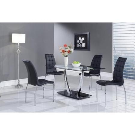 Cheap Black Glass Dining Sets, Find Black Glass Dining Sets Deals On With Regard To Black Glass Dining Tables (Image 6 of 25)
