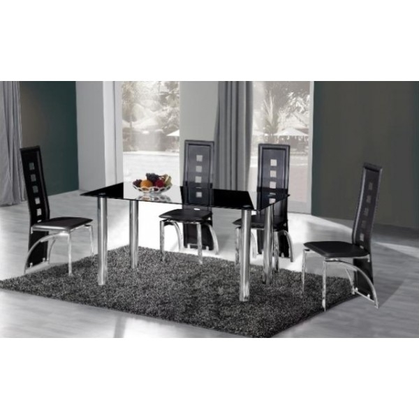 Cheap Crystal Large Black Glass Dining Table & 6 Chairs For Sale Online Pertaining To Black Glass Dining Tables And 6 Chairs (Image 12 of 25)