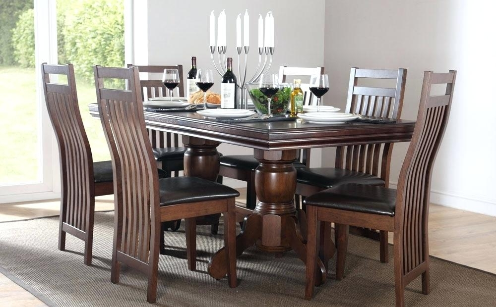 Cheap Dining Tables 6 Chairs Java Extending Dark Wood Dining Table 4 Regarding Dark Wood Dining Tables 6 Chairs (View 8 of 25)