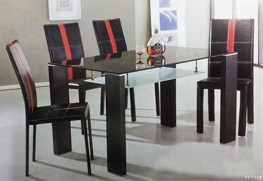 Cheap Glass Dining Table With 6 Chairs 7 Pieces Set Sydney Warehouse Inside Cheap Glass Dining Tables And 6 Chairs (Image 13 of 25)