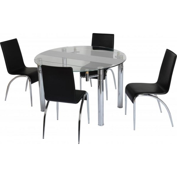 Cheap Glass Dining Tables And Chairs Sets For Sale – Cheap Beds Leeds Inside Smoked Glass Dining Tables And Chairs (Photo 17 of 25)