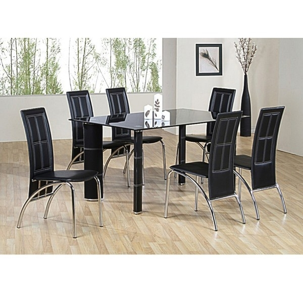 Cheap Julian Bowen Black Glass Tempo Dining Table And Chairs For Sale Intended For Dining Room Glass Tables Sets (Image 10 of 25)