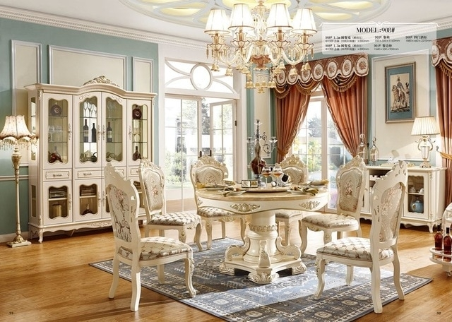 Cheap Price High Quality Royal Wood Design Dining Table Sets White For Royal Dining Tables (Image 7 of 25)