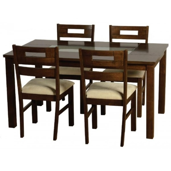Cheap Seconique Chatsworth Walnut & Frosted Glass Dining Table Set For Smoked Glass Dining Tables And Chairs (Image 5 of 25)