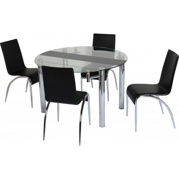 Cheap Seconique Chloe Extending Black / Clear Glass Small Dining Throughout Black Glass Dining Tables And 4 Chairs (View 16 of 25)