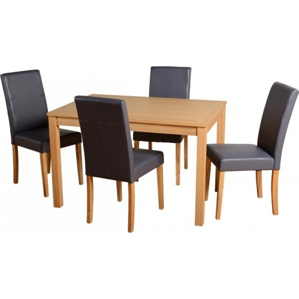Cheap Seconique Oakmere Small Oak Dining Table Set & 4 Charcoal Intended For Cheap Dining Tables (Image 12 of 25)