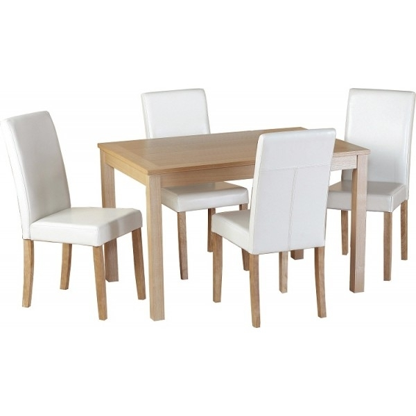 Cheap Seconique Oakmere Small Oak Dining Table Set 4 Christopher Throughout Cheap Oak Dining Sets (Image 5 of 25)