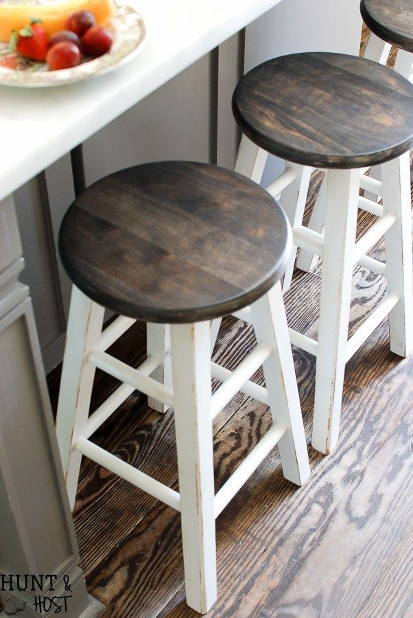 Cheap To Chic Bar Stool Makeover With My New Spray Tent | For The For Washed Old Oak & Waxed Black Legs Bar Tables (Image 9 of 25)