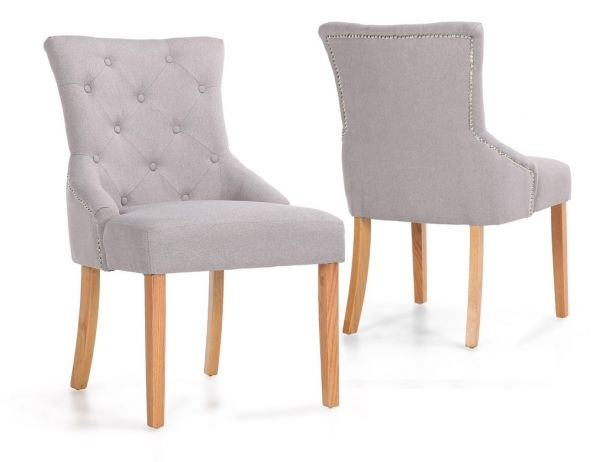 Chester Dining Chairs With Oak Wood Legs Pertaining To Button Back Dining Chairs (Image 7 of 25)