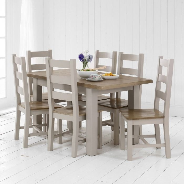 Chester Grey Painted Medium Dining Table + 6 Dining Chairs | The Inside Chester Dining Chairs (Image 14 of 25)