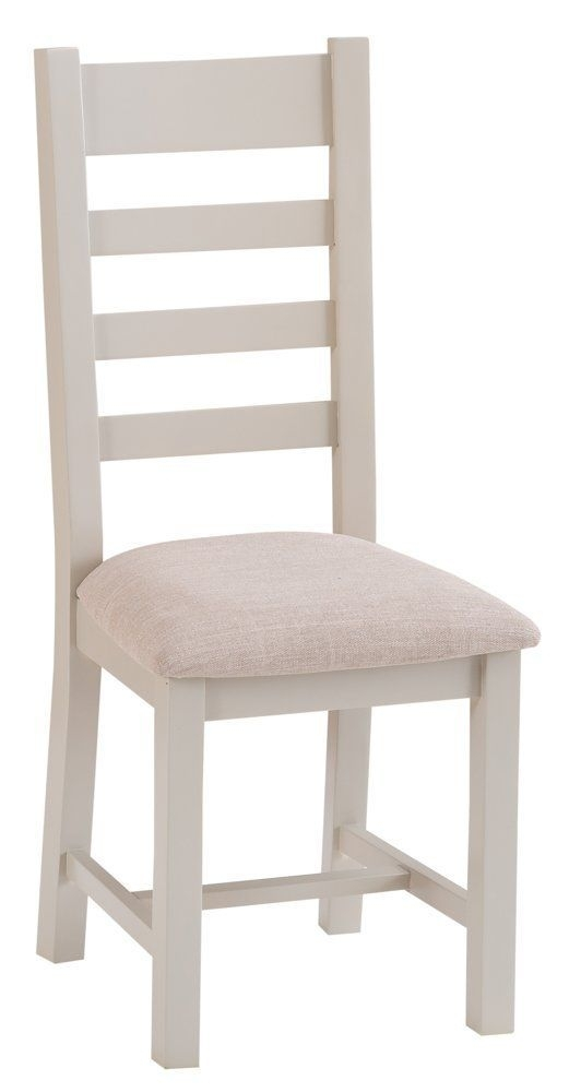 Chester Grey Painted Oak Slat Back Dining Chair With Fabric Seat Inside Chester Dining Chairs (Image 15 of 25)