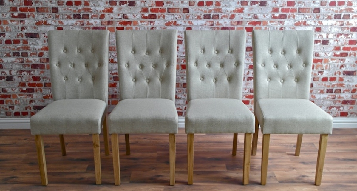 Chesterfield Dining Chair With Stone Upholstery Button Back Oak With Regard To Button Back Dining Chairs (Image 8 of 25)