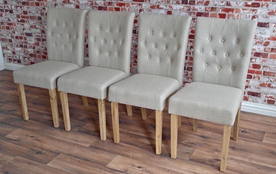 Chesterfield Style Upholstered Dining Chairs Set Button Back Oak In Button Back Dining Chairs (Image 9 of 25)