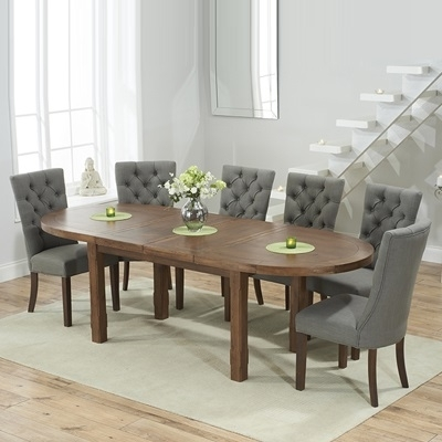Chevron Dark Oak Oval Extending Dining Table With 6 Albany Grey For Dining Tables With Grey Chairs (Image 7 of 25)