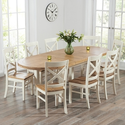 Chevron Oak And Cream Oval Extending Dining Table With 8 Carver Chairs Inside Extending Dining Tables And Chairs (Image 9 of 25)