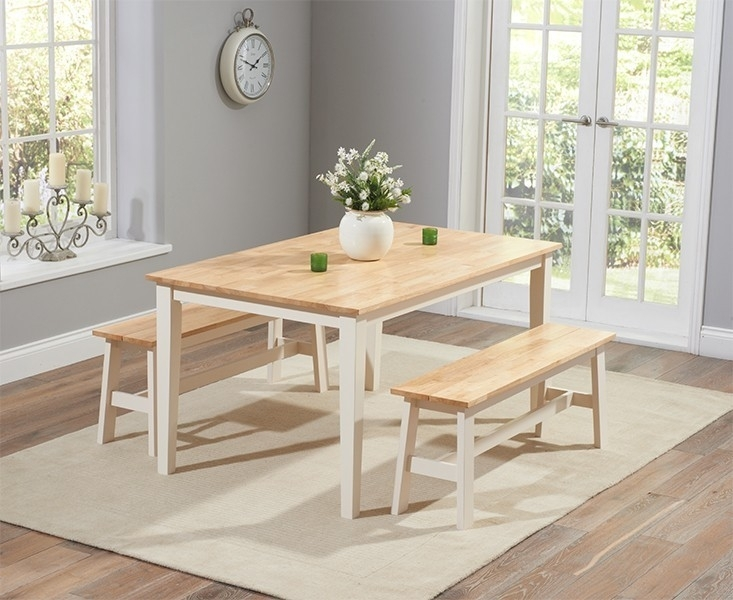 Chichester 150Cm Oak & Cream Dining Table With 2 Large Benches In Dining Tables And 2 Benches (Image 10 of 25)