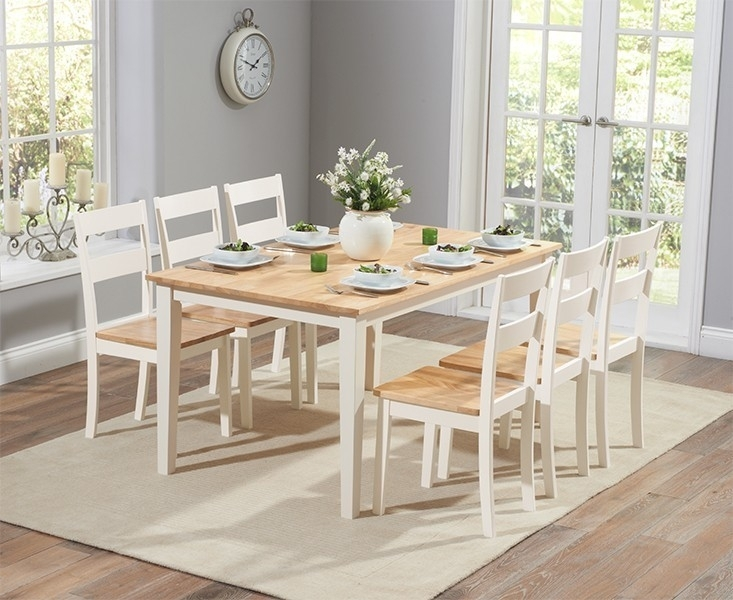 Chichester 150Cm Oak & Cream Dining Table With 6 Dining Chairs Throughout Cream Dining Tables And Chairs (View 5 of 25)