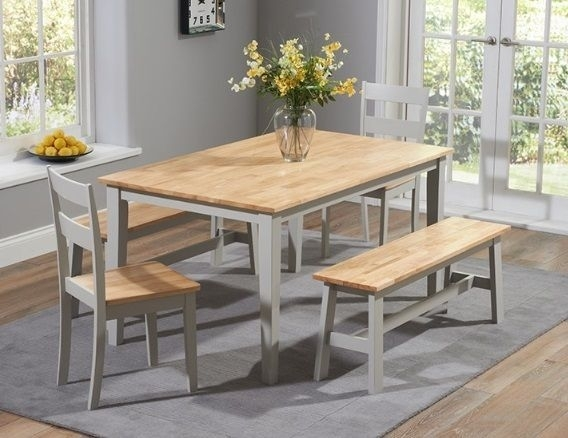 Chichester 150Cm Oak & Grey Dining Table 4 Chairs 1 Large Bench With Regard To Grey Dining Tables (Image 4 of 25)