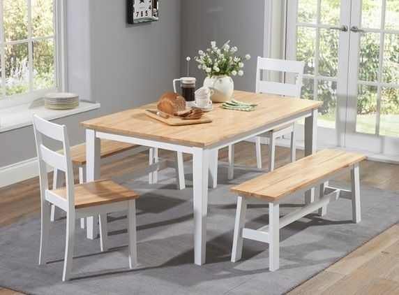Chichester 150Cm Oak & White Dining Table 2 Chairs 2 Large Benches Intended For Chichester Dining Tables (View 23 of 25)