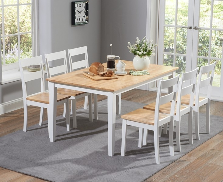 Chichester 150Cm Oak & White Dining Table With 4 Dining Chairs Intended For Chichester Dining Tables (Image 11 of 25)