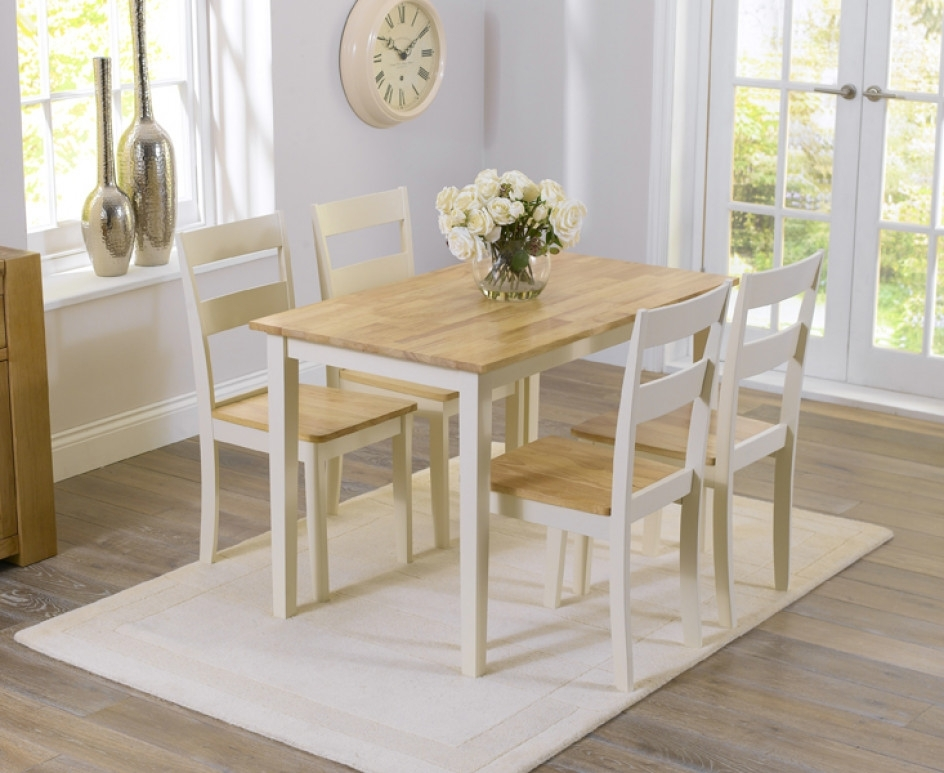 Chiltern 115Cm Oak And Cream Dining Table And Chairs | The Great Intended For Cream And Oak Dining Tables (Image 8 of 25)