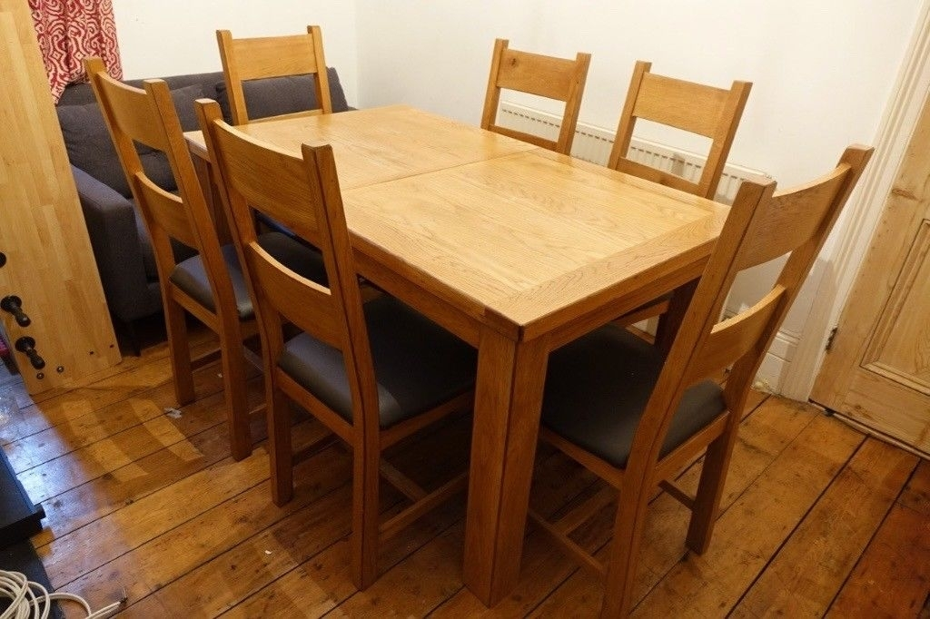 Chiltern Oak Extending Dining Table With 6 Chairs | In Stoke With Regard To Oak Extending Dining Tables And Chairs (View 3 of 25)
