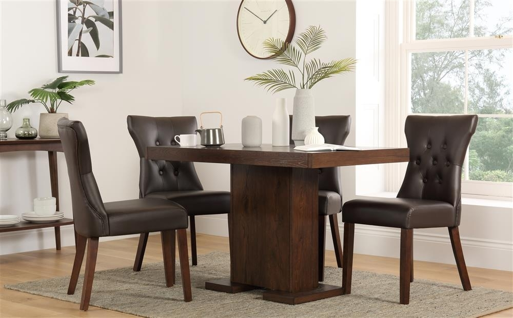 Chilton 120Cm Walnut Dining Table With 6 Bewley Brown Chairs Only For Walnut Dining Tables And 6 Chairs (Image 12 of 25)