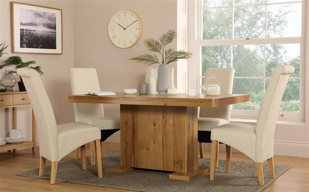 Chilton 160Cm Oak Dining Table With 6 Richmond Cream Chairs Only With Regard To Cream And Wood Dining Tables (Image 6 of 25)