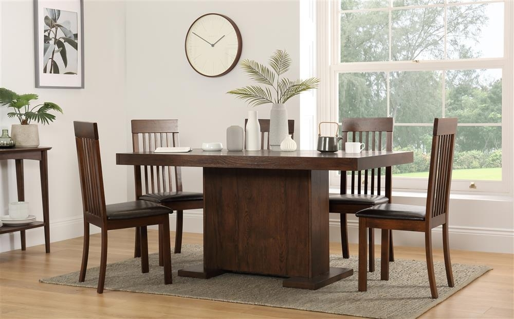 Chilton 160Cm & Oxford Walnut Dining Table And 4 6 Chairs Set (Brown In Walnut Dining Table And 6 Chairs (Image 10 of 25)