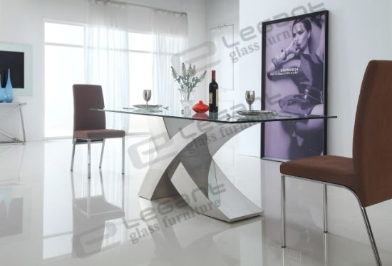 China 2014 Modern Glass Dining Table And Stainless Steel Dining In Glass And Stainless Steel Dining Tables (Image 4 of 25)