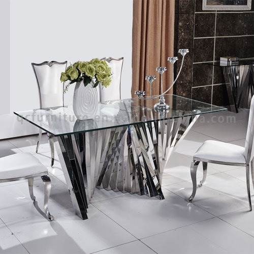 China 2018 Modern Latest Mirror Glass Top Dining Table With Metal For Mirror Glass Dining Tables (Image 5 of 25)