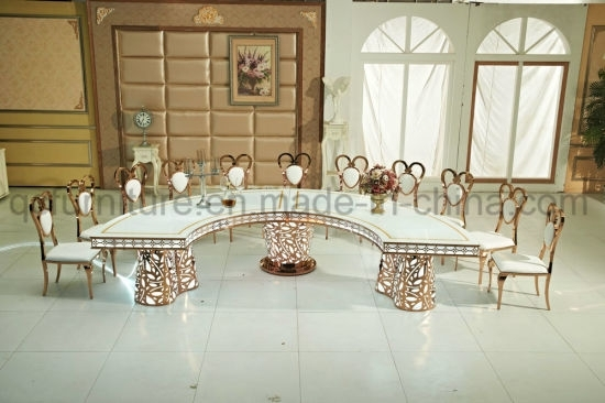 China Half Moon White Tempered Glass Led Light Wedding Table Set With Half Moon Dining Table Sets (Image 3 of 25)