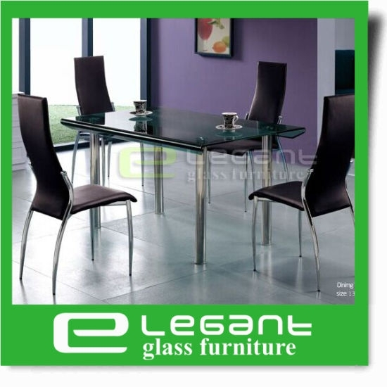 China Long Curved Glass Dining Table On 4 Stainless Steel Legs In Curved Glass Dining Tables (Image 4 of 25)