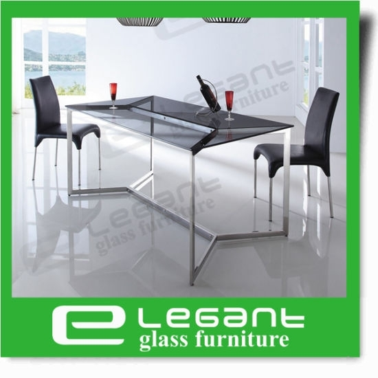 China Long Curved Glass Dining Table On 4 Stainless Steel Legs Inside Curved Glass Dining Tables (Image 5 of 25)