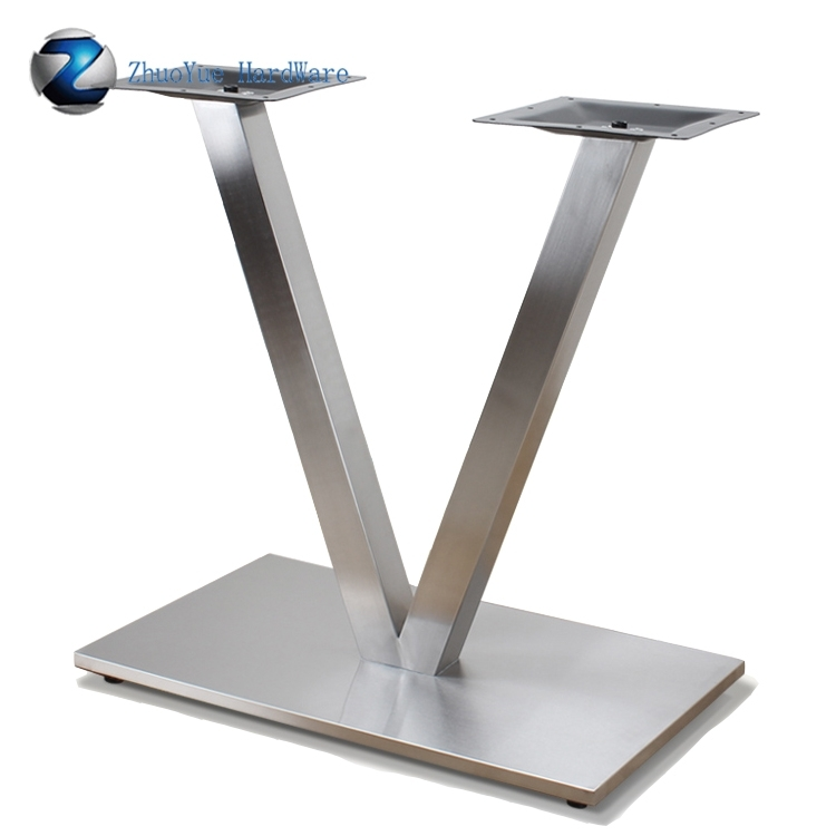 China Manufacture Brushed V Shape Stainless Steel Dining Table Base With Regard To Brushed Steel Dining Tables (Image 6 of 25)
