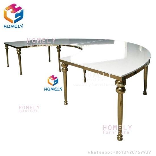 China Mirror Glass Round Half Moon Wedding Stainless Steel Dining In Round Half Moon Dining Tables (Image 4 of 25)