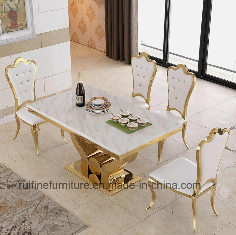 China Modern Dining Room Furniture Stainless Steel Gold Marble With Marble Dining Tables Sets (Image 6 of 25)