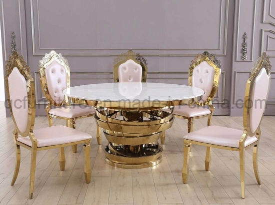 China Royal Dining Room Furniture Dining Table With Stainless Steel Regarding Royal Dining Tables (Image 9 of 25)