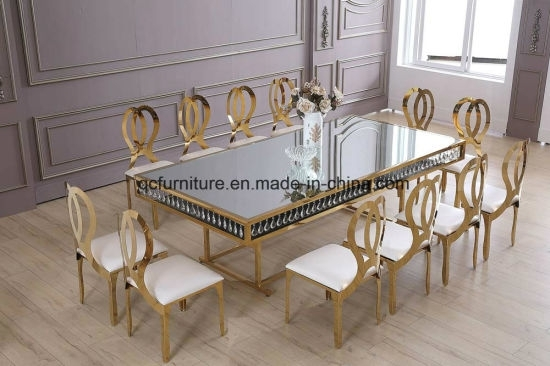 China Wedding Decoration Golden Frame Mirror Glass Top 12 Seater With Crystal Dining Tables (View 8 of 25)