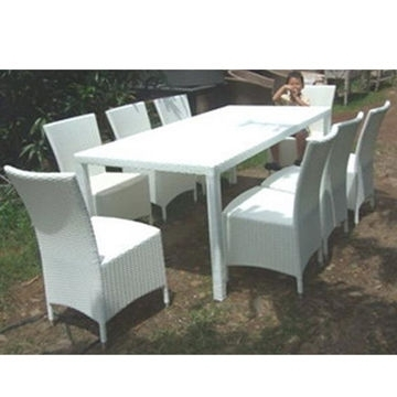 China Wicker Dining Table And Chair, Pe Rattan And Coated Iron Tube Pertaining To Rattan Dining Tables (Image 8 of 25)