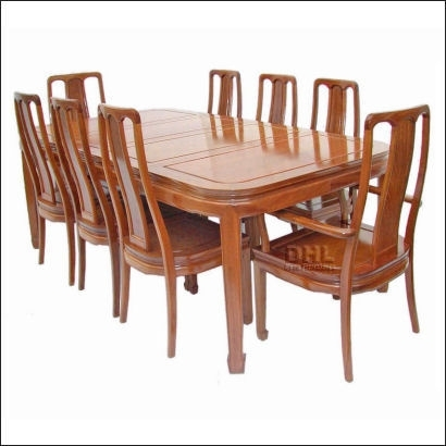 Chinese Rosewood Oval Dining Table With 8 High Back Chairs With Regard To Dining Tables For Eight (Image 7 of 25)