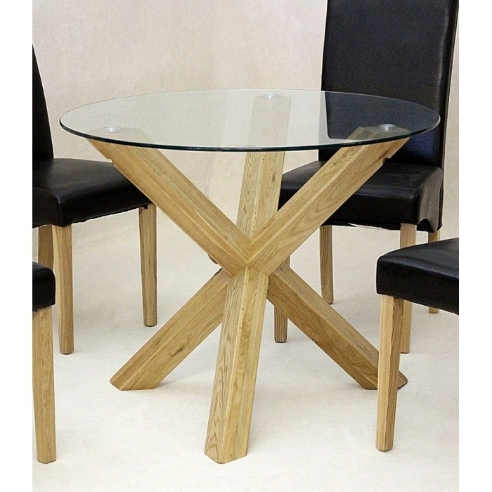 Chinon Round 95Cm Mini Glass Dining Table – Azura Home Style For Glass Dining Tables With Oak Legs (View 2 of 25)