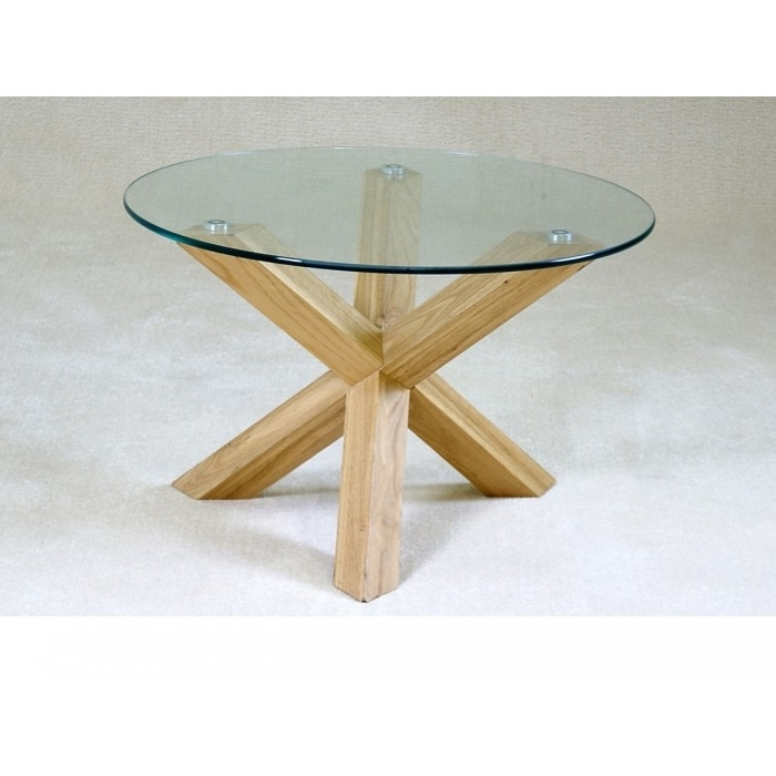 Chinon Round Glass Coffee Table – Azura Home Style For Glass Dining Tables With Oak Legs (View 16 of 25)