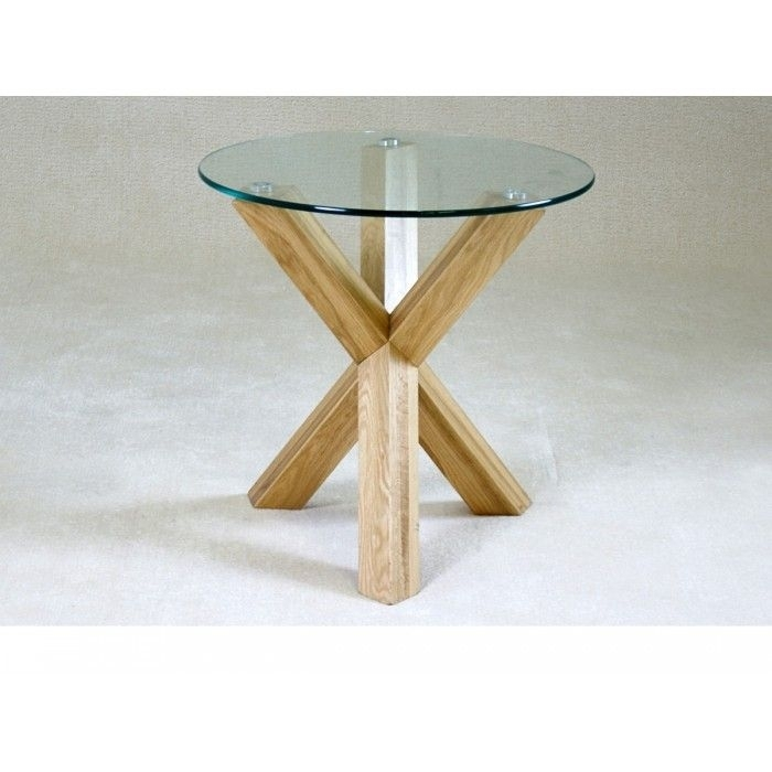 Chinon Small Round Glass Dining Table With Oak Wooden Legs – 4 With Round Glass Dining Tables With Oak Legs (Image 4 of 25)