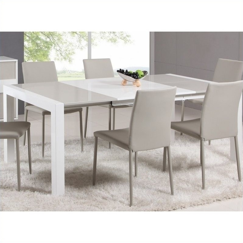 Chintaly Gina Lacquer Parson Extendable Dining Table In Whitegrey Inside Extending Dining Tables Set (Image 4 of 25)