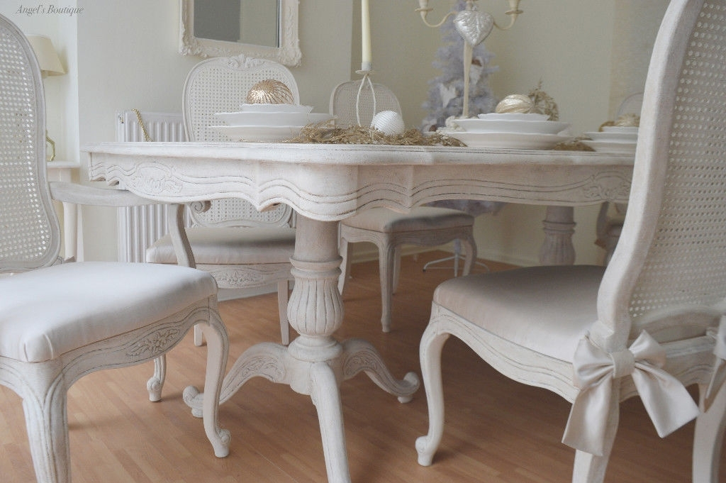 Christmas Sale !!! *** French Antique Shabby Chic Dining Table & Six With Regard To French Chic Dining Tables (Image 5 of 25)