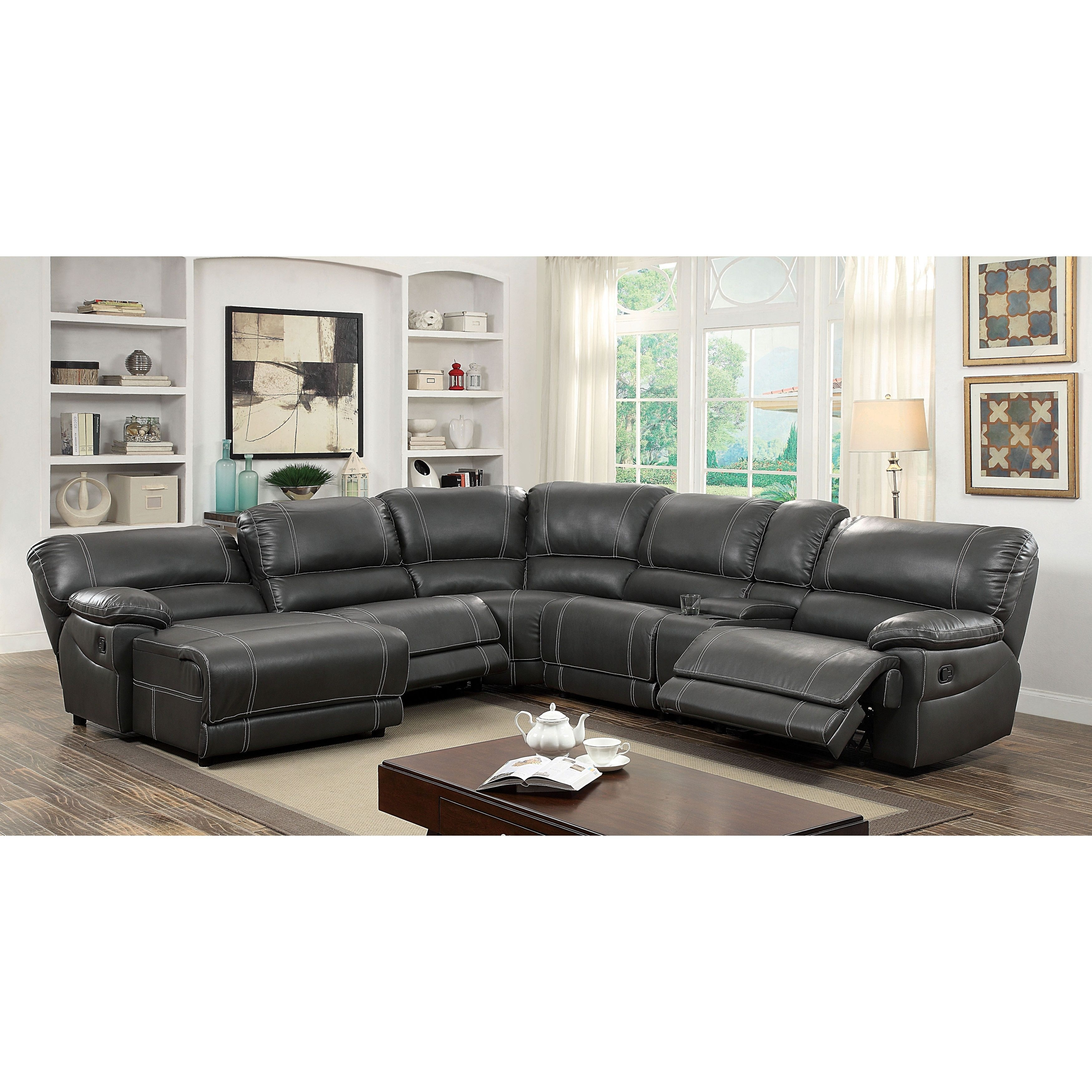 Christopher Reclining Sectional Collection With Denali Charcoal Grey 6 Piece Reclining Sectionals With 2 Power Headrests (Image 11 of 25)