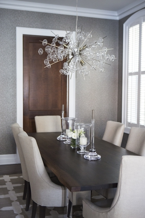 Chrome And Wood Dining Table – Transitional – Dining Room With Regard To Chrome Dining Room Chairs (View 25 of 25)