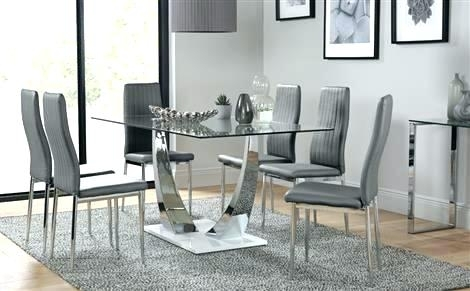 Chrome Dining Room Chairs Glass And Chrome Dining Table And Chairs Throughout Chrome Dining Room Sets (Photo 17 of 25)